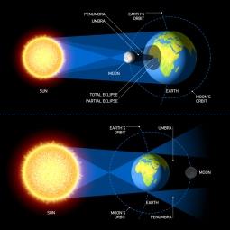 Solar & Lunar Eclipses. Vector.